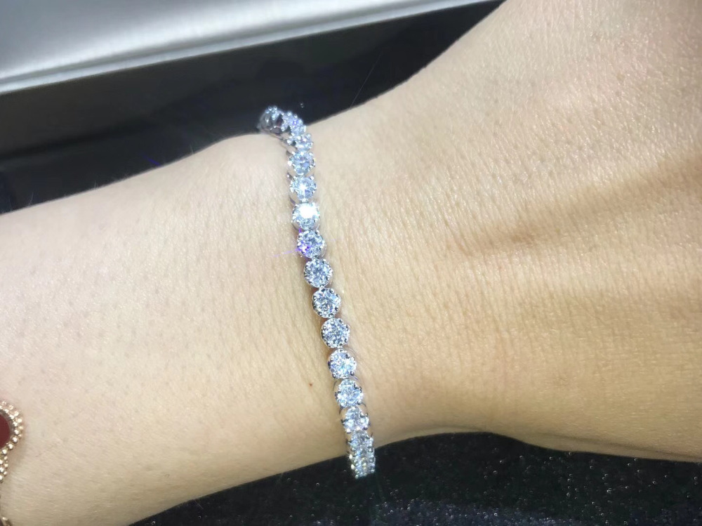 TB259 0 1carat pcs small stone Luxury NSCD Simulated Gem bracelets 925 sterling silver bracelets charm