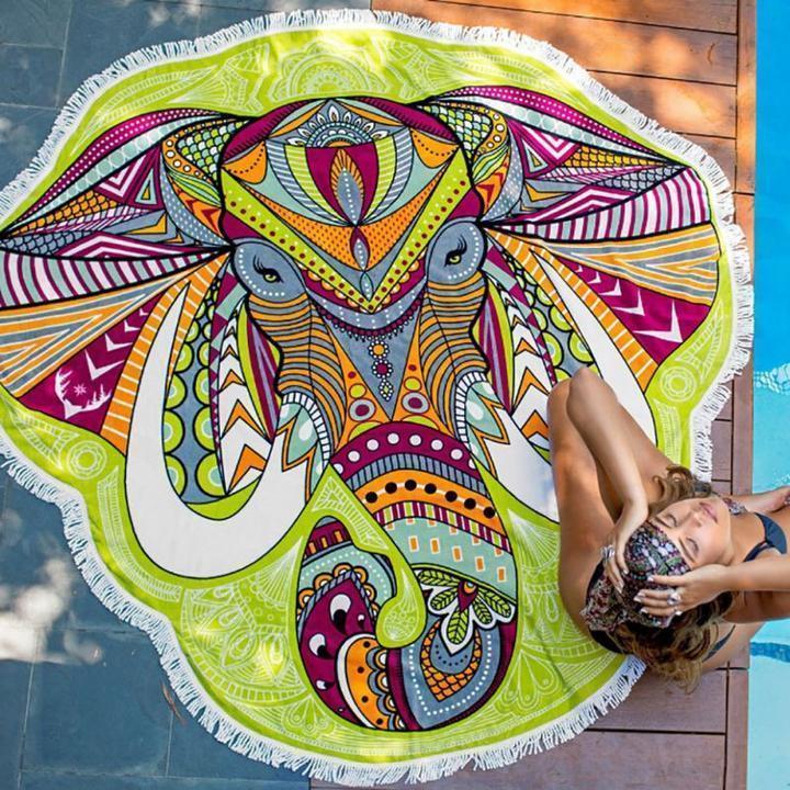 Pizza Ciambella Cranio Mandala Elefante Indiano Rotonda Parete Arazzo Appeso Spiaggia Coperta Copriletto Tiro Decor Mat Cover Up Tappeto
