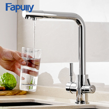 Fapully Drink Water Kitchen Faucet Filter Faucet Deck Mounted 360 Degree Rotation Mixer Tap Hot and Cold Mixer Crane For Kitchen gizero newly black kitchen faucet brushed tap deck mounted hot and cold water crane mixing taps gi2071