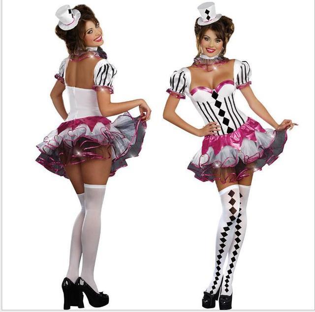 Adult Women Mardi Gras Jester Costume Party Wear Circus Clown Costumes Black White Lattice Halloween Costumes  sc 1 st  AliExpress.com & Adult Women Mardi Gras Jester Costume Party Wear Circus Clown ...