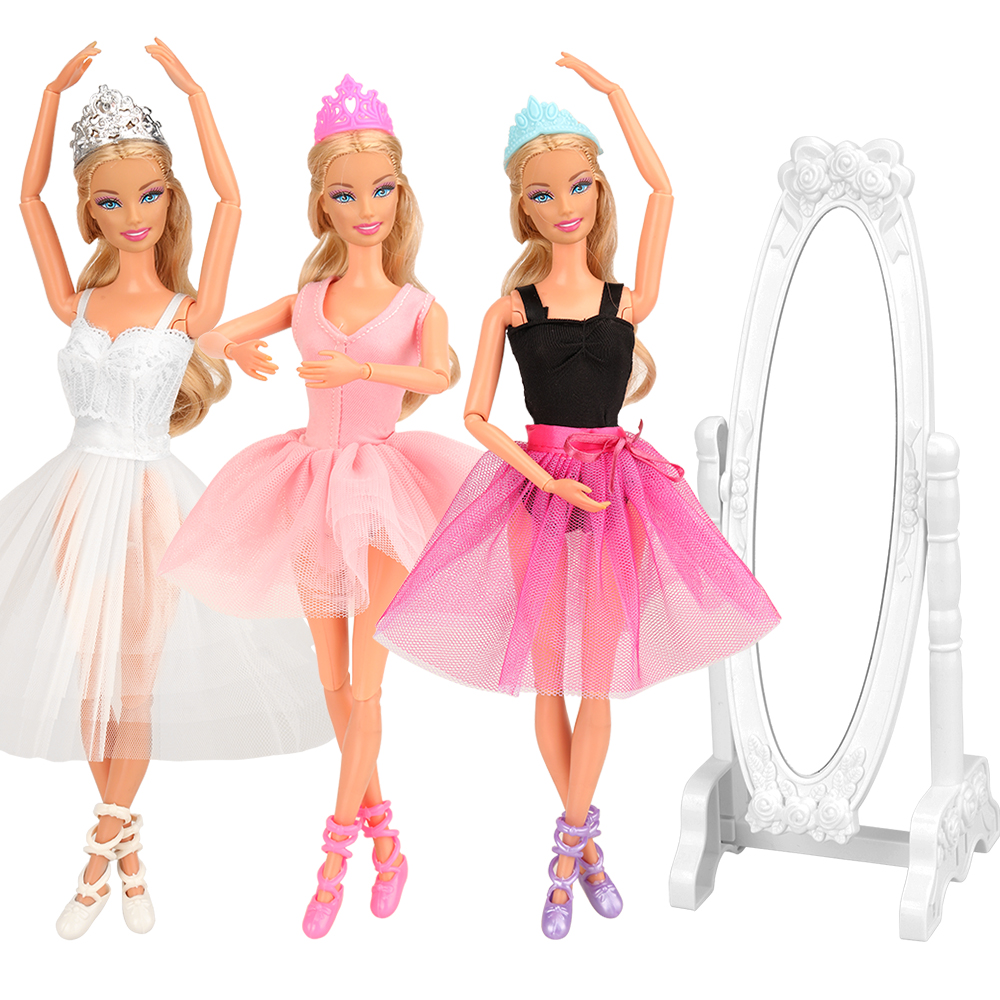 10 Items/set Toys For Girl =3 Dolls Ballet Dress  +3 Doll Accessories +3 Toy Shoes +1 Mirror Objects For Barbie Dressing Game