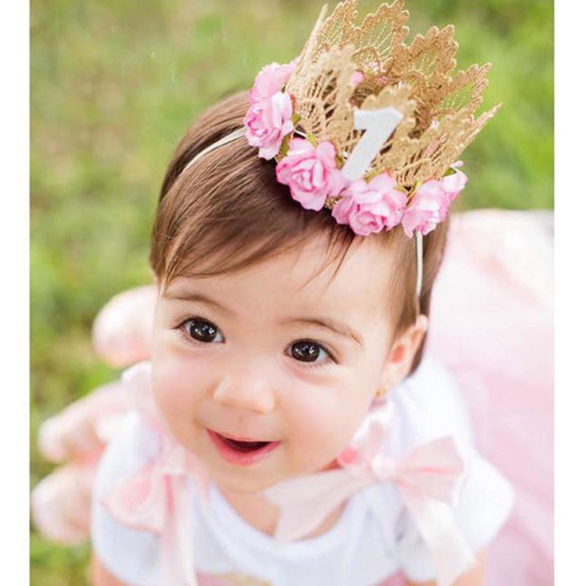 Princess Girl Head Accessories 2017  Newborn Hairband  Hair Band Elastic Flower Crown Headwear #LSW 10pcs sweet diy boutique bow headbands elastic head band children girl hair accessories headwear wholesale