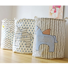 Zakka Household Cartoon Horse Pattern Cotton Linen Multifunction Stackable Folding Storage Box Barrel Laundry Organizer Large