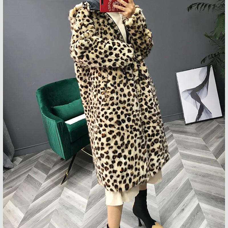Picture Réel Avec Manteaux 2018 Femmes Long Manteau De Vison Chapeau Color Veste En Le Léopard Hiver Imprimé Vêtements Taille Fourrure Plus Cuir TwrRTaxBq