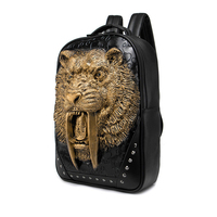 Fashion Men's Black/Gold/Silver 3D King Lion Tiger Retro Leather Backpack Rivet PU Leather Travel Back Pack Bag Punk Male Laptop