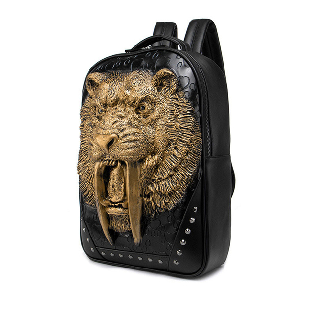 116666e50 Homens da moda Preto/Ouro/Prata Rei Leão 3D Tigre Retro Rebite Mochila de
