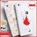 Caso vpower xiaomi mi4s repujado 3d lleno de lujo protectora suave silicona caso para xiaomi mi 4s m4s cubierta del teléfono con el soporte del anillo
