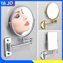 Bathroom Mirror Black Stainless Steel Make Up Mirror Magnifying Adjustable Dual Arm Extend 2-Face Cosmetic Mirror Wall Mounted недорого