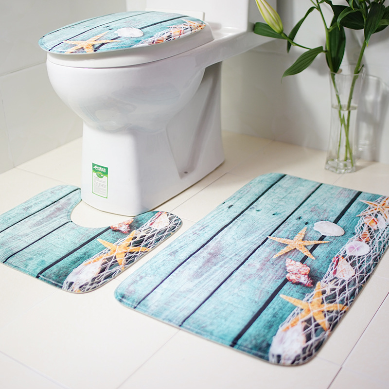 Starfish, flannel, bathroom, three piece set cushion, floor mat, non slip mat Bathroom products