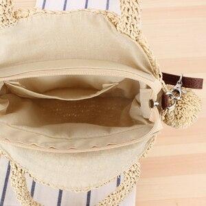 Image 3 - New Beach Woven Handbags Summer Women Fashion Round Ball Bag Rattan Woven Shoulder Messenger Travel Straw Bag
