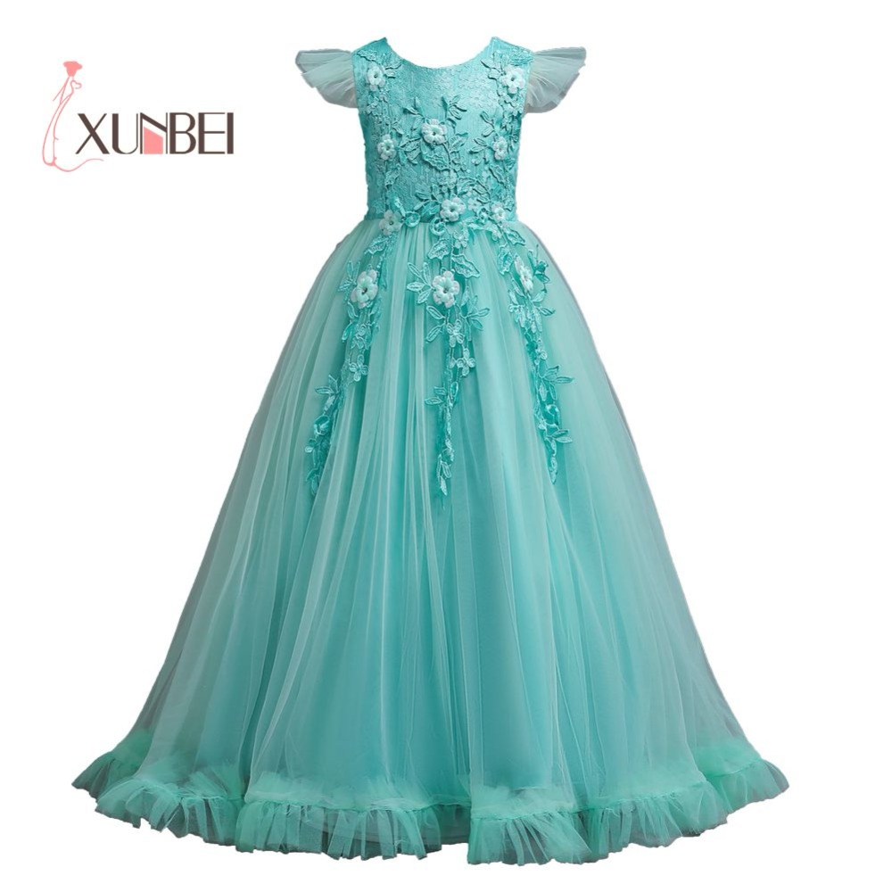 Princess Ball Gown Floor Length   Girls   Pageant   Dresses   Tulle   Flower     Girl     Dresses   2019 Appliqued First Communion   Dress