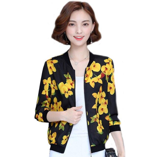 buy online b0a8a a81ff 2019 neue Sommer Kimono Tops Frauen Jacke Damen Frühling Jacken Floral  Bomber Casual Outwear 437