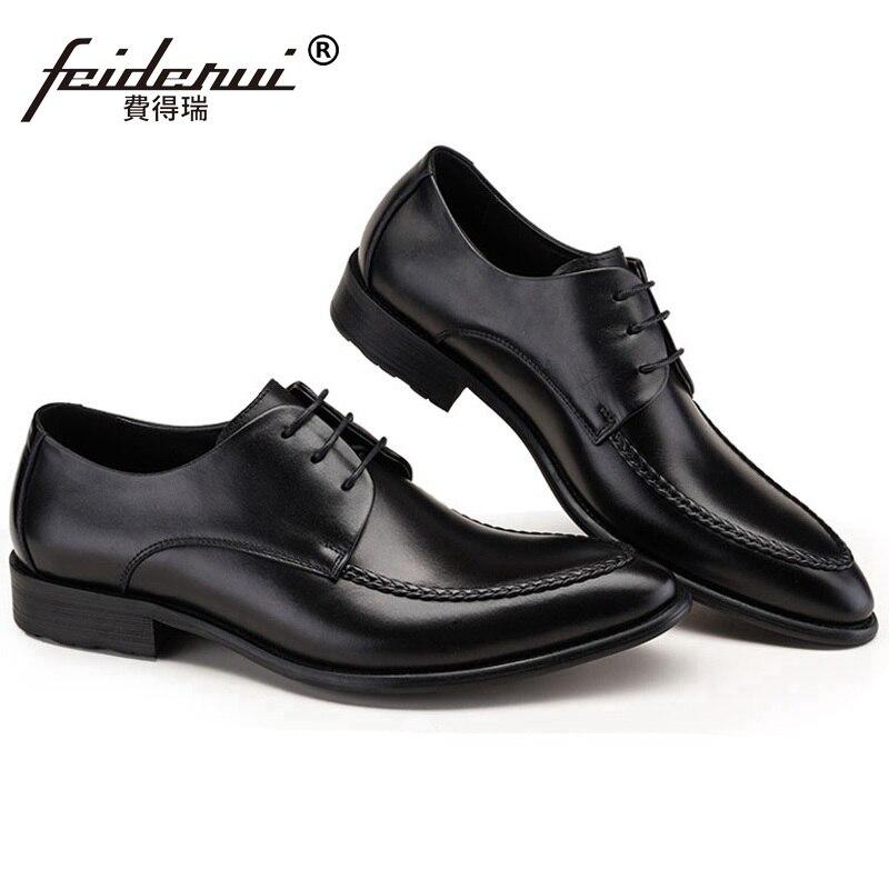 Nupcial Zapatos Qc36 Partido Hombres Vestido Pie Nueva Dedo Oxfords Cuero Del Derby Planos Llegada Formal Señaló Negro Auténtico Boda Hombre ZzqzSa