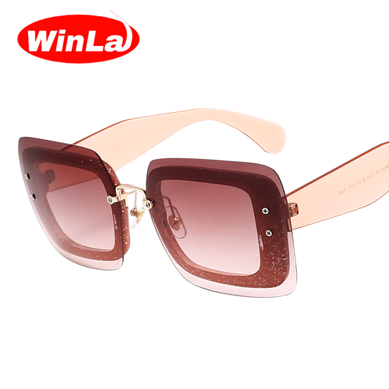 564d057627e23 Winla New Women Sunglasses Luxury Brand Designer Sunglasses Fashion Ladies  Sunglasses Colorful Frame Gradient Lens Shades UV400-in Sunglasses from  Apparel ...