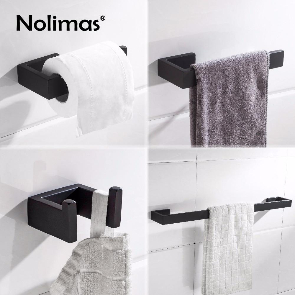 Matte Black SUS 304 Stainless Steel Bathroom Hardware Set Robe Hook ...
