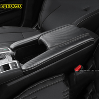 Carbon Fiber Car Leather Car Central Armrest Console Cover For Honda Civic 10th 2016 2017 2018 Accessories