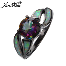 JUNXIN Female Mystery Rainbow Ring Fashion Style Black Gold Filled Jewelry Vintage Wedding Rings For Women 2017 New Year Gifts