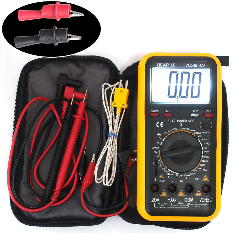 Digits Multimeter 2000 Counts Victor VC9804A+ AC DC Voltmeter Capacitance Resistance digital Ammeter vc99 auto range 3 6 7 digital multimeter 20a resistance capacitance meter voltmeter ammeter alligator probe thermal couple tk