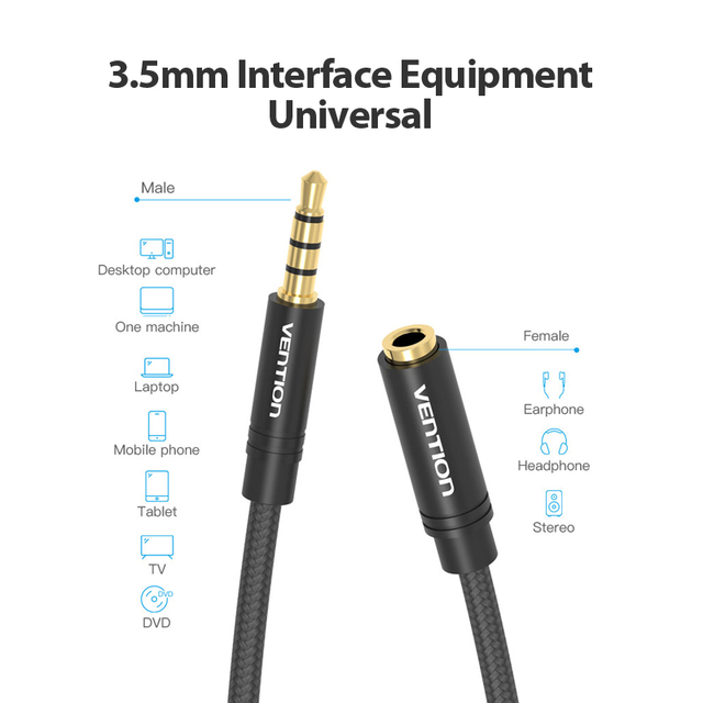 Vention Jack 3.5 Aux Extension Cable for Car Laptop Mini PC TV Xiaomi Huawei Stereo 3.5 mm Jack Headphone Speaker Cable Auxiliar 5