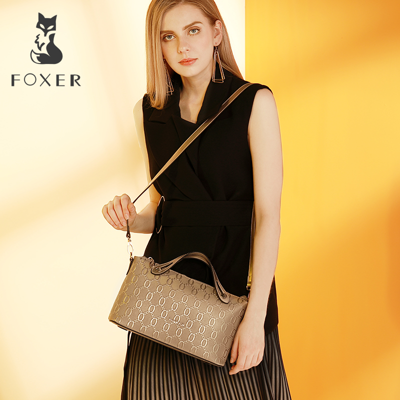 FOXER Women Cow Leather Shoulder Bags Crossbody Embossed Handbags High Quality Casual Messenger Bags foxer shoulder
