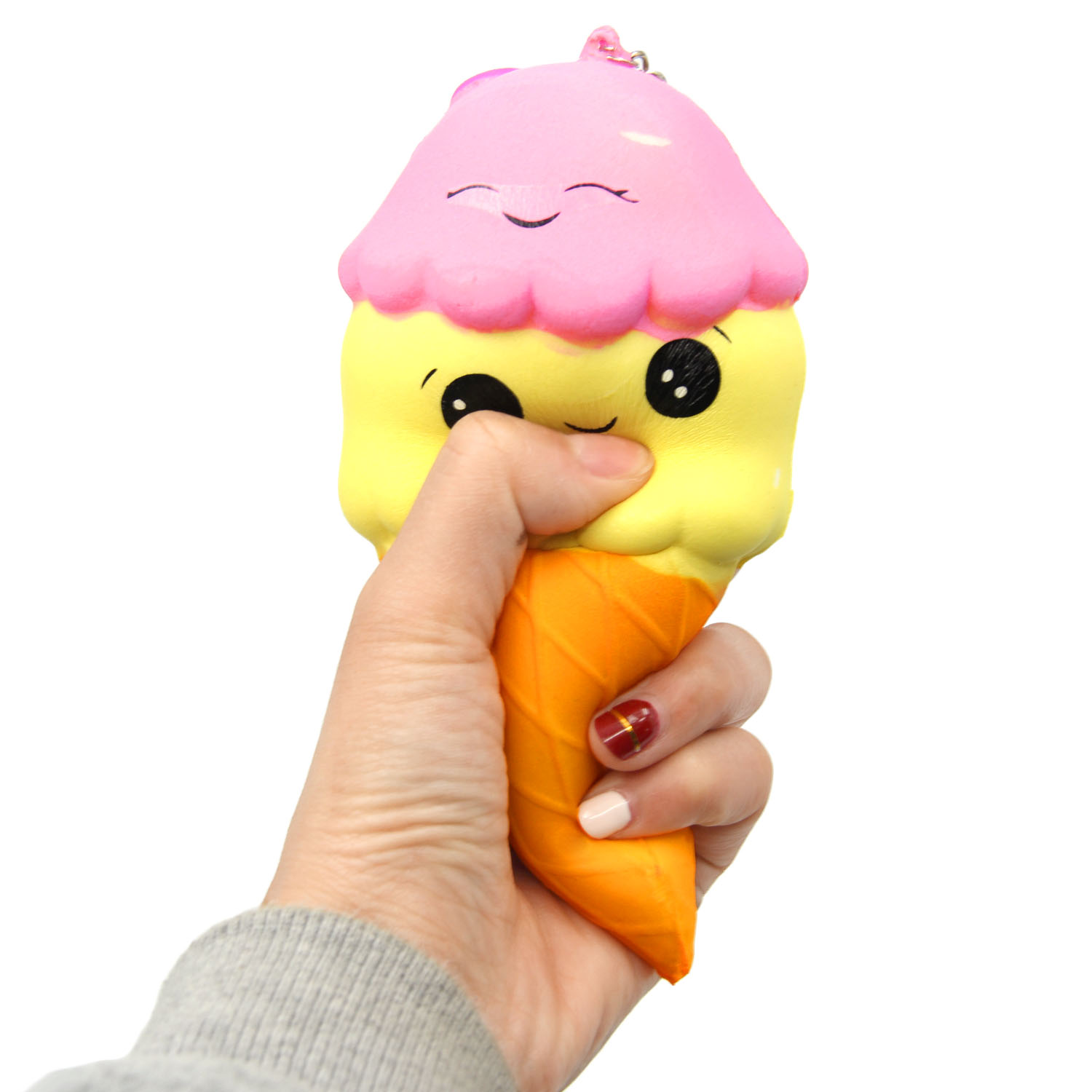 Satkago Cute Kawaii Squishy Ice Cream Cone Keychain Pendant Toy Slow Rising for Kids Adult Relieves Stress Bag Purse Phone Decor