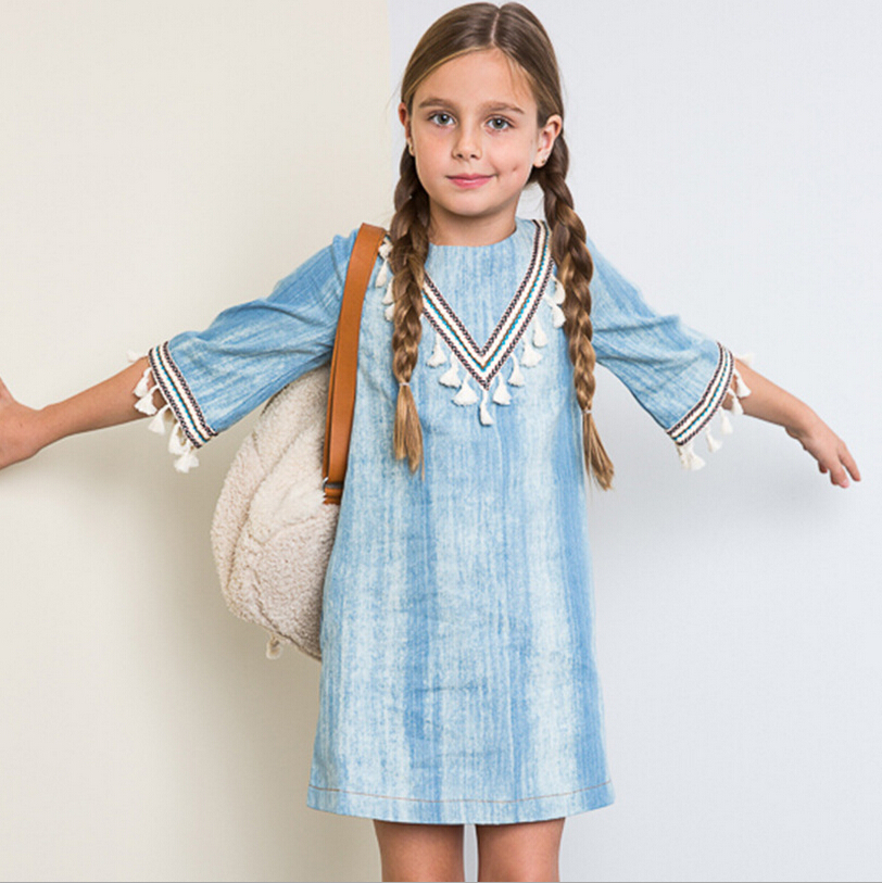 girls age 13 dresses denim vintage costume autumn sundress teenage girls clothes 10 12 years party clothing fancy frocks