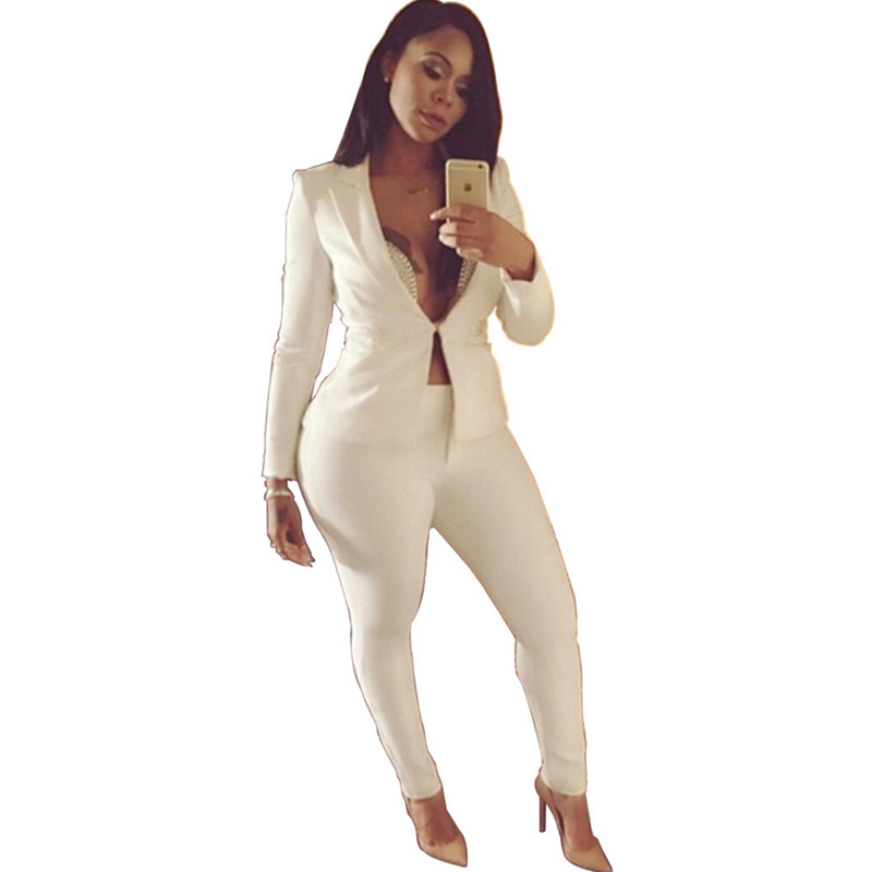 2018 Women 2 Piece spring Formal Jacket&long Pants Fitness Outfit sexy black white Casual Suits elegant office Lady ol dungarees