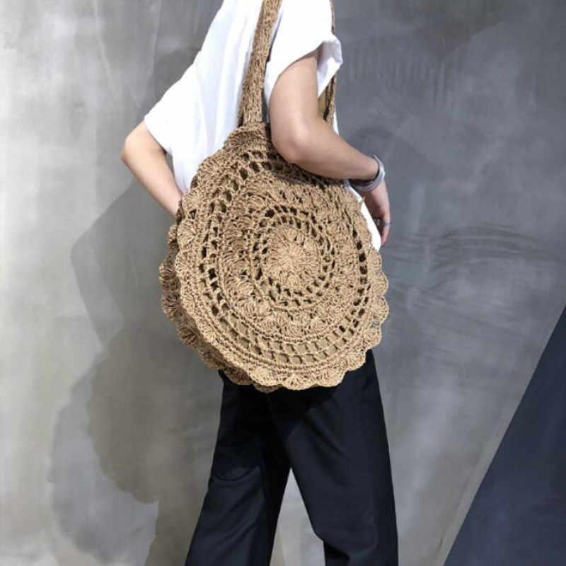 Bohemian Stro Tassen voor Vrouwen Cirkel Strand Handtassen Zomer Rotan Schoudertassen Handgemaakte Gebreide Reizen Grote Bakken Tas 2019 Nieuwe