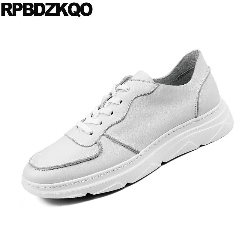 Genuino Cuero Moda De A Mano Zapatillas Alta Casuales Calidad Hecha Blanco Marca Lujo La Zapatos Hombres Primavera Europeo Pista Los qHzTvC5