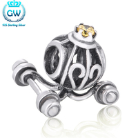 Natural Stones Beads Sterling Silver Pumpkin Carriage Charm Halloween Party Jewelry Diy Jewelry Brand GW X011-30