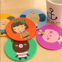Hot sales! 6pcs/lot cute cartoon cup mat Silicone Coaster Coffee Table Cup Mats Pad Placemat Kitchen Accessories(China)
