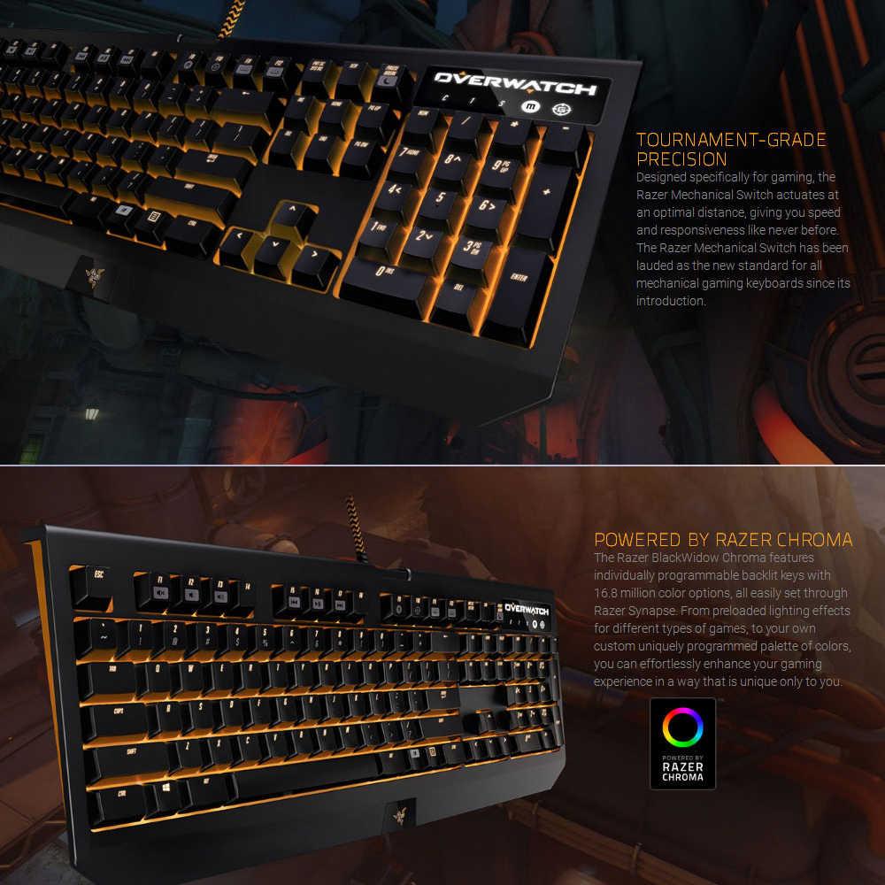 Razer Overwatch BlackWidow Chroma Mechanical Gaming Keyboard Green Switch  104 Keys RGB Backlit Fully Programmable Clicky Razer