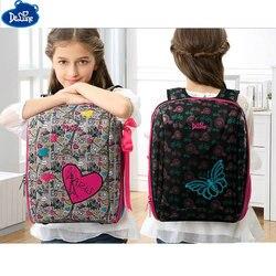 Alta calidad Delune ortopédica mochilas los niños de dibujos animados impermeable diseño ergonómico mochila niños niñas bolsas de escuela