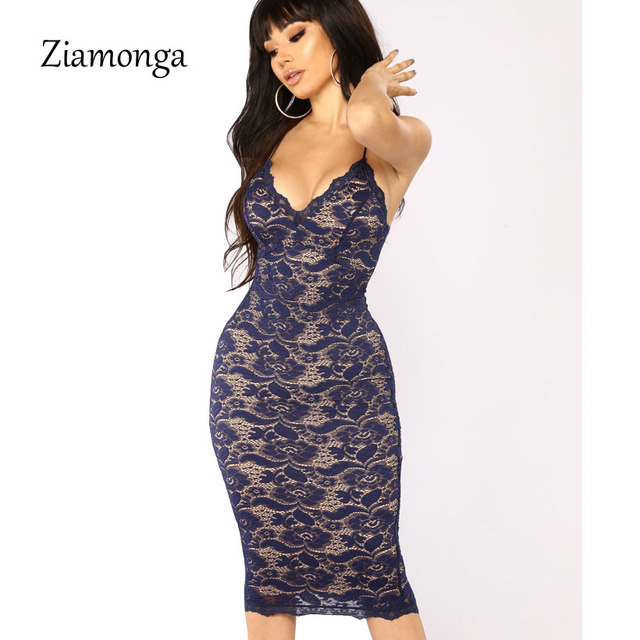5448ba6c0a3a2 Ziamonga Sexy Elegant Black Patchwork Floral Embroidery Midi Lace Dress  Women s Bodycon Bandage Dress Sexy Evening Party Dresses