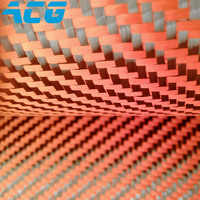 3K Carbon Fiber 1500D Kevlar Hybrid Fabric 200g Orange Twill For Car Parts DIY Blue Carbon