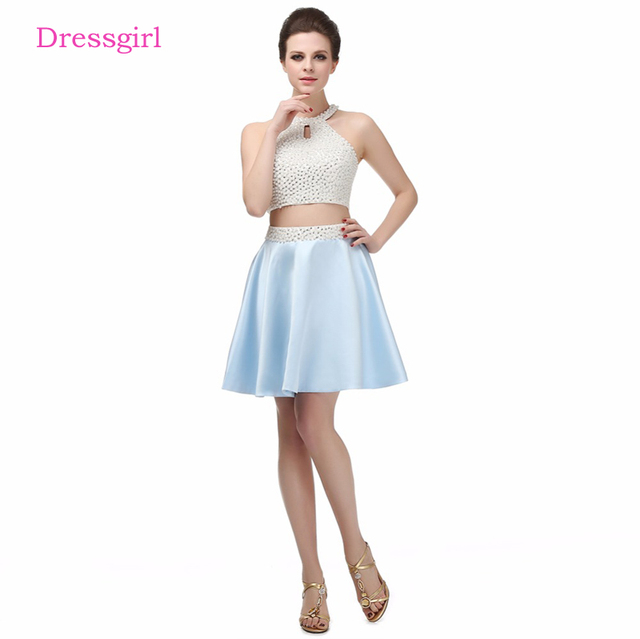 Sky Blue 2019 Homecoming Dresses A-line Halter Short Mini Pearls Open Back Two Pieces Elegant Cocktail Dresses