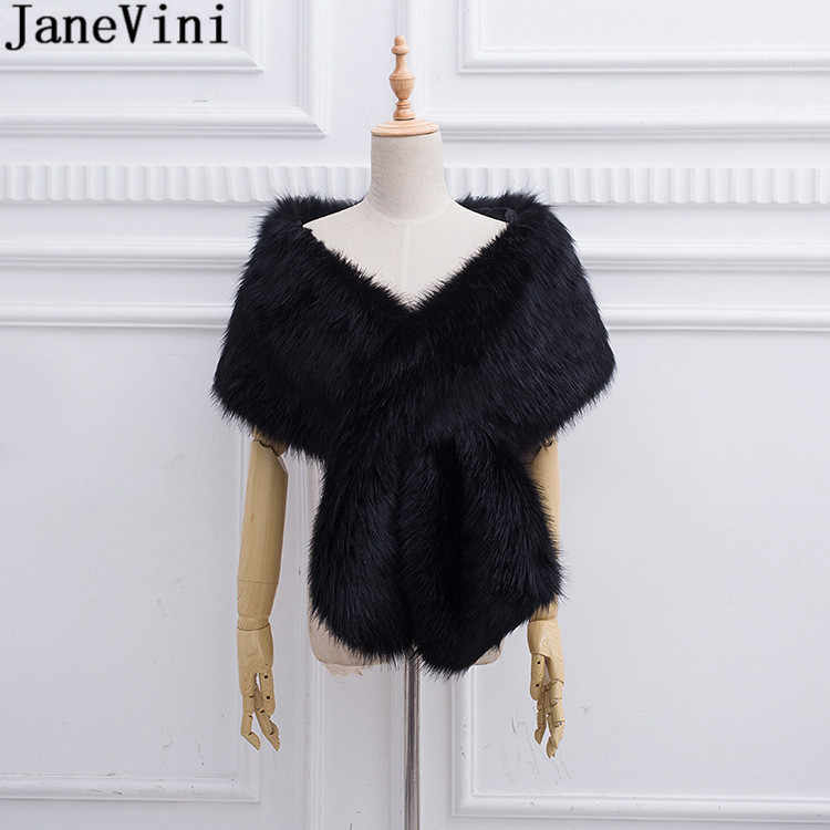 JaneVini 2018 New Bridal Fur Cape Black Boleros Wedding Bride Faux Fur Wraps Jacket Bolero Coat White Wine Ladies Party Shawls