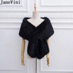 JaneVini 2018 New Bridal Fur Cape Black Boleros Wedding Bride Faux Fur Wraps Jacket Bolero Coat White Wine Ladies Party Shawls