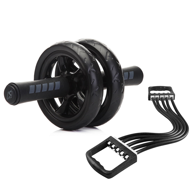 Set No Noise Abdominal Wheel & Resistance Bands Ab Roda Abdominal Exercise Rollers with Mat for Exercise Fitness Muscle Trainer