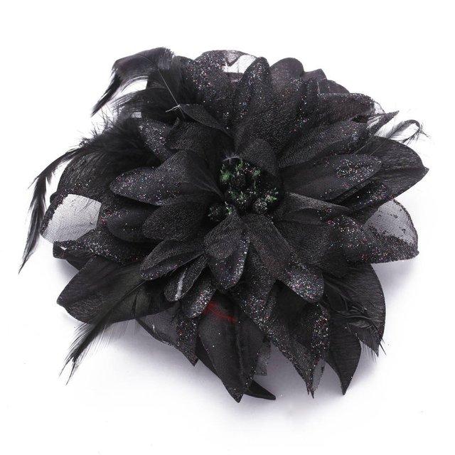 Цветок брошь повязка на голову пин-ап лента черный цветочный ткань перо Свадебный шик