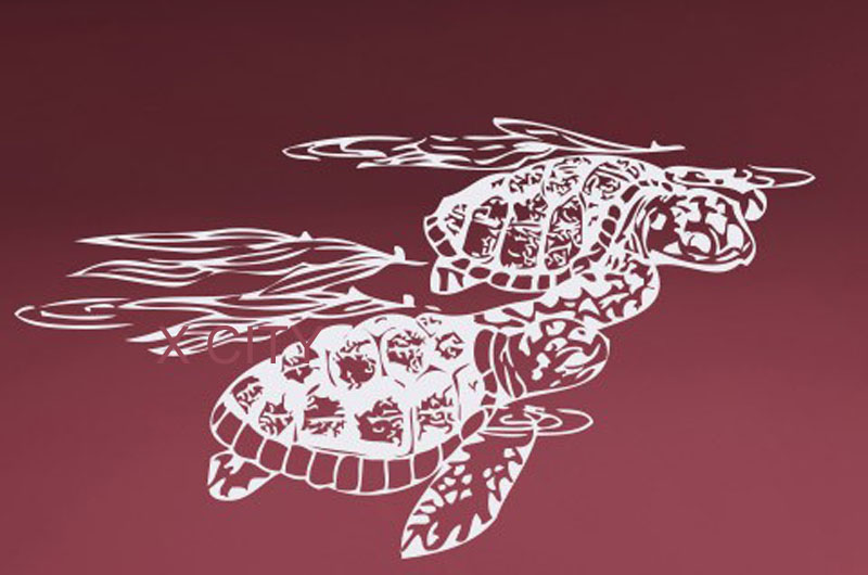 Turtles Swimming Ocean Animal Natural Wall Art Decal Sticker Removable Vinyl Cut Transfer Stencil Mural Home Bedroom Decor
