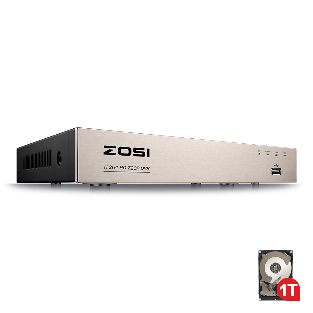 ZOSI 8 Channel TVI 4 IN 1 DVR With 1TB 720P Security CCTV DVR 8CH Mini