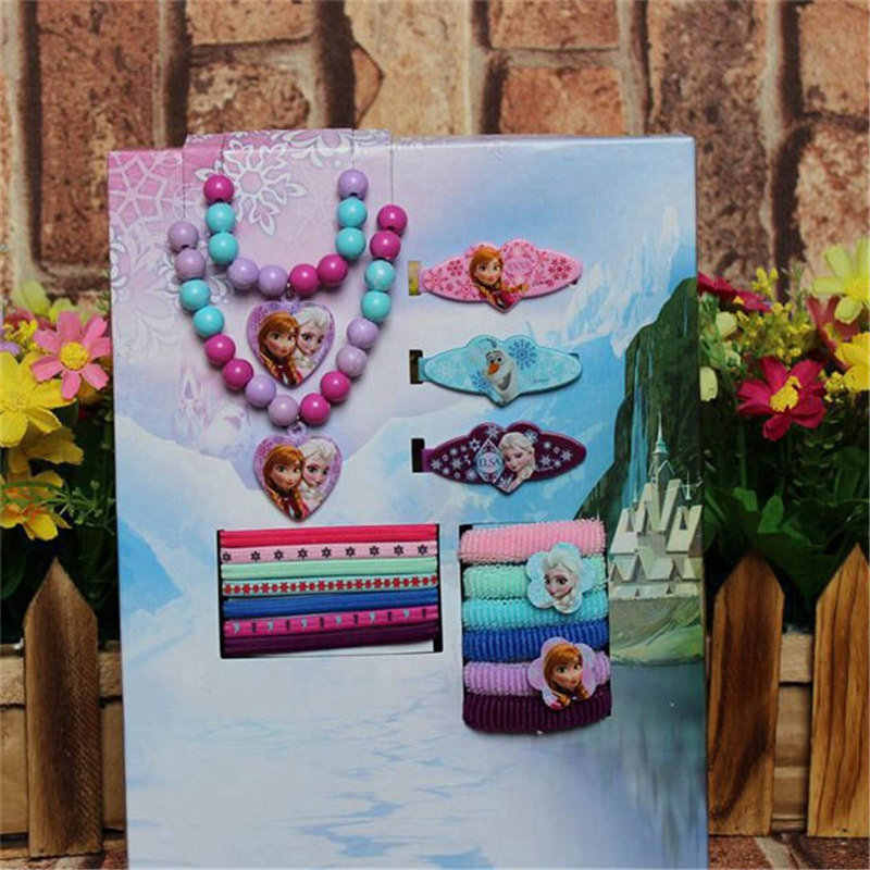 17pcs/ lot New Disney Doll Accessories Frozen Necklace Bracelet Hairpin Rubber Band Hair Strap Party Dress Up Headdress