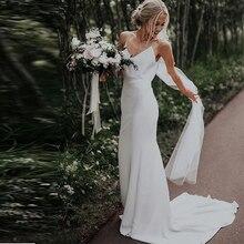 بسيط رقبة v شاطئ فساتين الزفاف بلا أكمام ساتان بوهو فساتين الزفاف ذيل شابيل أبيض عاجي السباغيتي الأشرطة فساتين زفاف