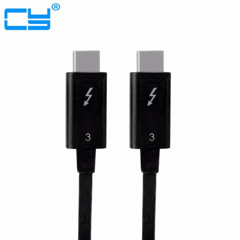Бесплатная доставка номер отслеживания Thunderbolt 3 USB-C USB 3.1 штекерным thunderbolt3 мужской 40 Гбит/с кабель 50 см для dell xps13 ...