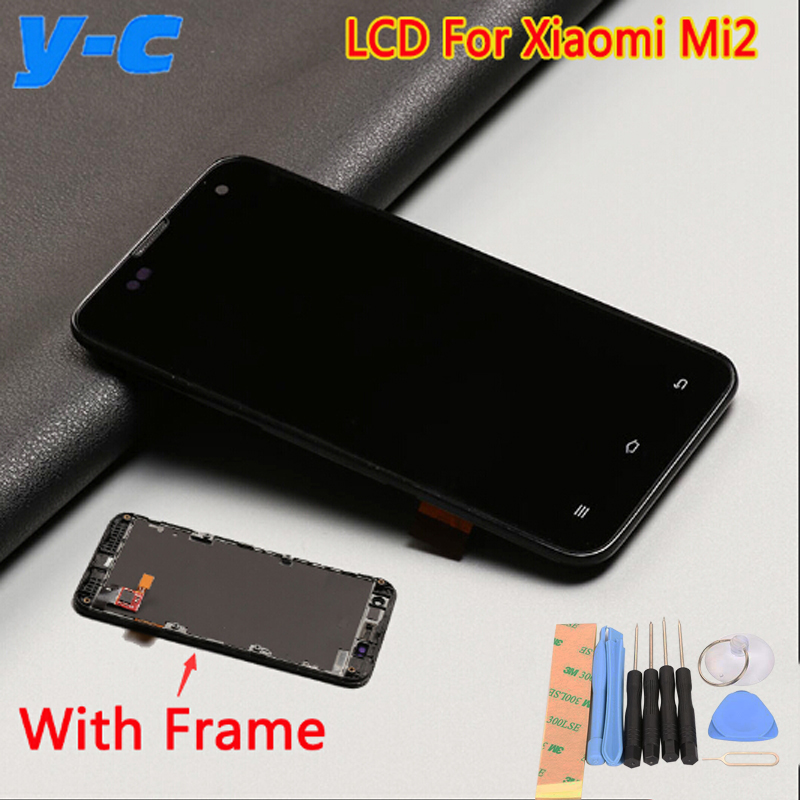 Screen For Xiaomi mi2 100 New LCD Display Touch Screen With Frame Replacement for Xiaomi 2