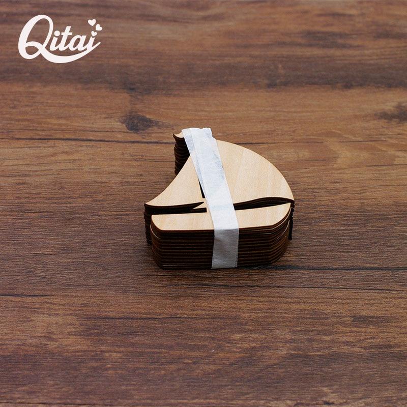 QITAI 12 buc / lot barcă navigând departe Natura furnir lemn DIY scrapbooking Produs vintage accesorii pentru decorarea casei WF011