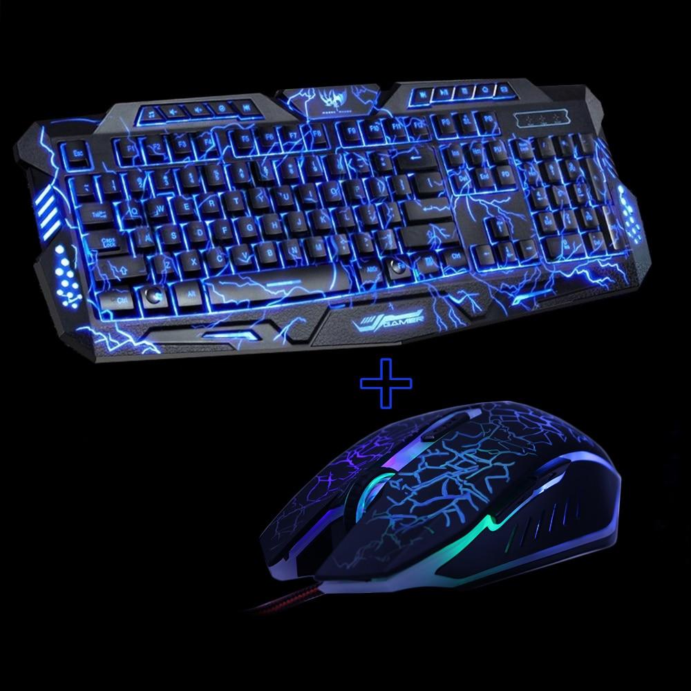 M200 púrpura/azul/rojo LED respiración retroiluminación Pro Gaming teclado Mouse Combos USB con cable llave ratón profesional teclado