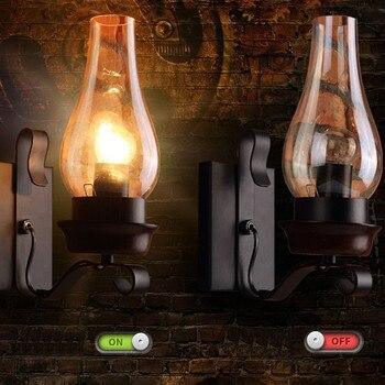 Abajur De Vidro Da Arte Do Ferro Querosene Americano Do Vintage Lâmpadas De Parede, Estilo Loft Retro Edison Luzes De Parede Da Escada De Luz Luminárias
