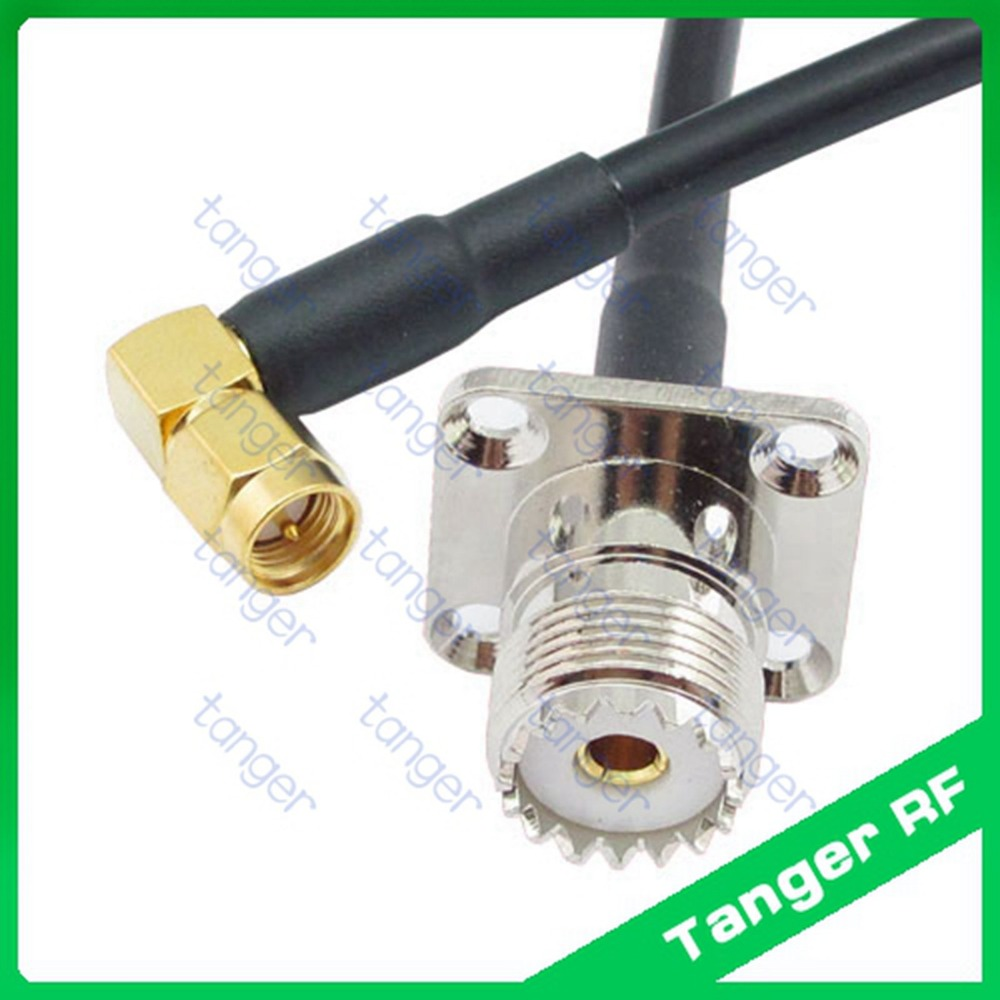 все цены на Tanger UHF female 4 four hole panel SO239 SL16 to SMA male right angle plug RF RG58 Pigtail Jumper Coaxial Cable 3feet 100cm